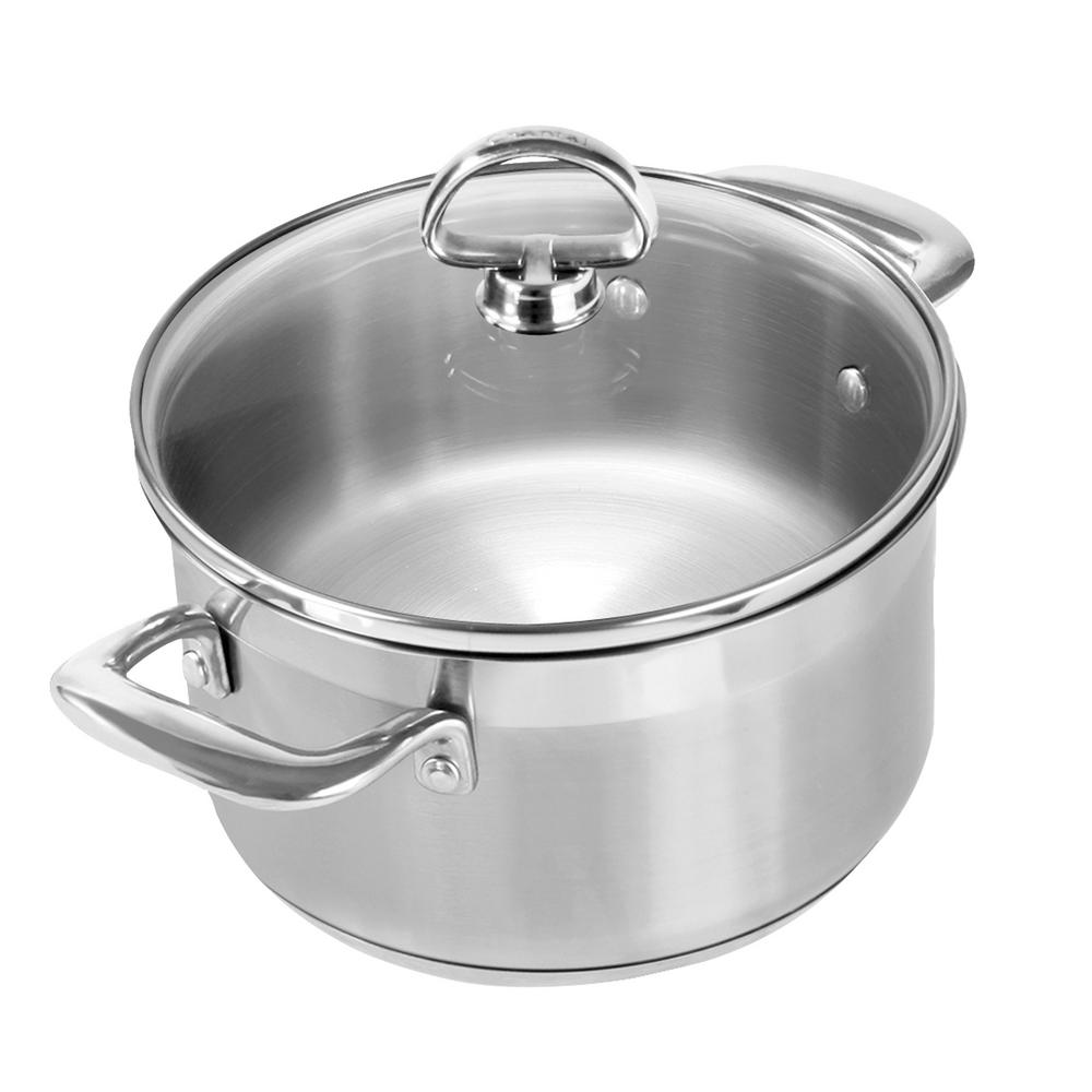 Induction 21 Steel 2 Qt. Soup Pot with Glass Lid in