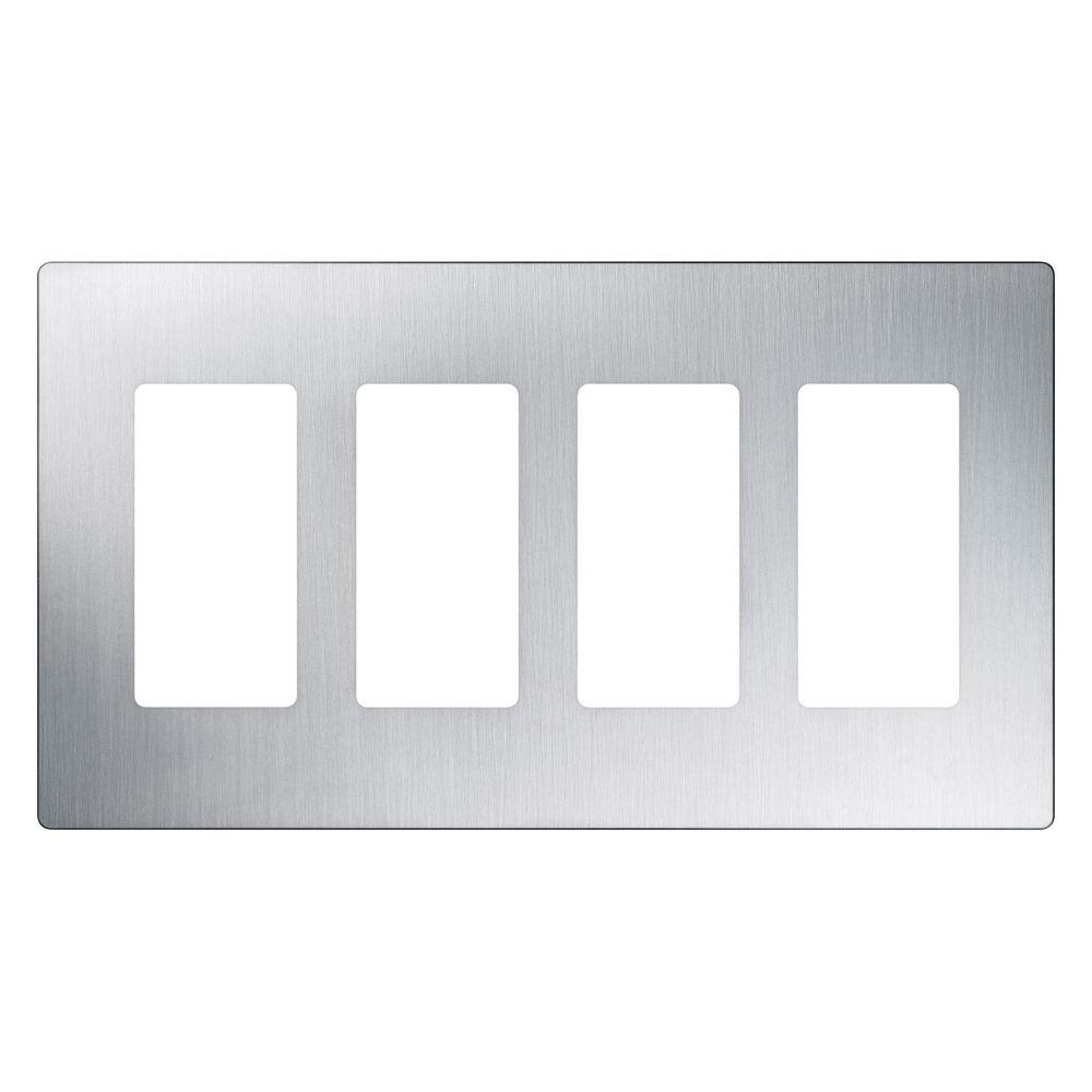 4 Switch Plate Alluring Lutron Claro 4 Gang Decorator Wallplate Stainless Steelcw4Ss Review