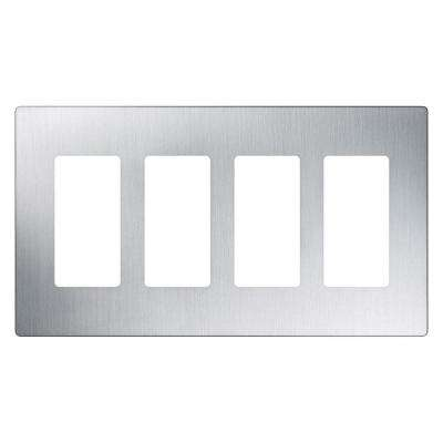 Claro 4 Gang Decorator Wallplate, Stainless Steel