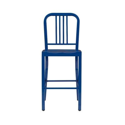 Kipling Mariner Blue Metal Counter Stool with Back (16.54 in. W x 38.98 in. H)