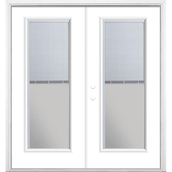 72 in. x 80 in. Ultra White Steel Prehung Right-Hand Inswing Mini Blind Patio Door in Vinyl Frame with Brickmold