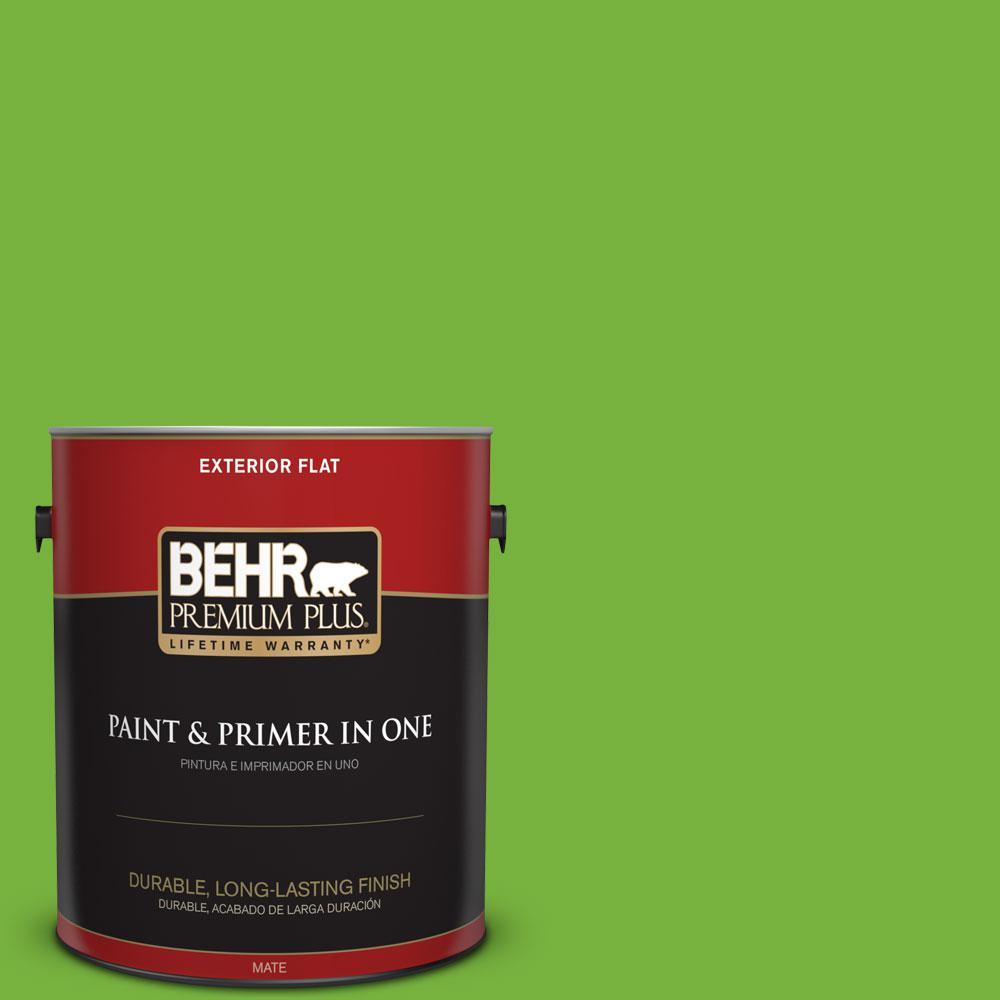 BEHR Premium Plus 1-gal. #S-G-430 Sparkling Apple Flat Exterior Paint