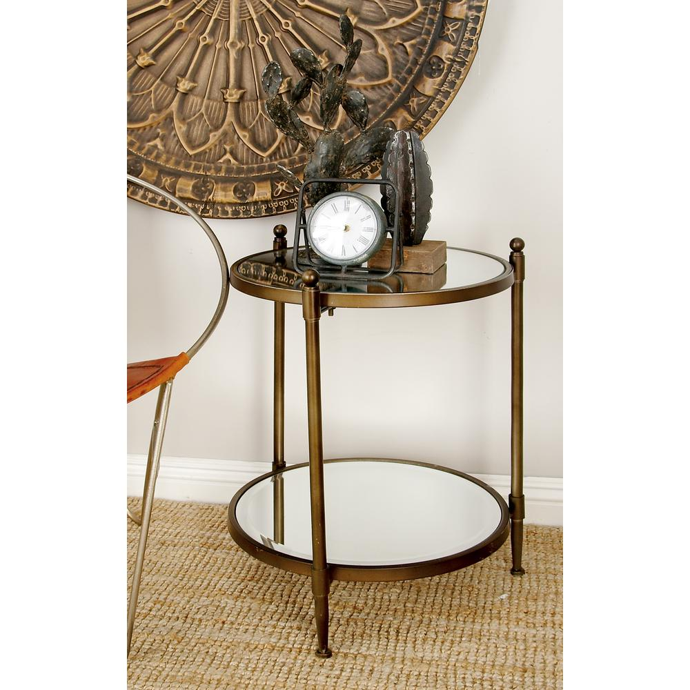 Litton Lane Metallic Gray Round 2 Tier Accent Table