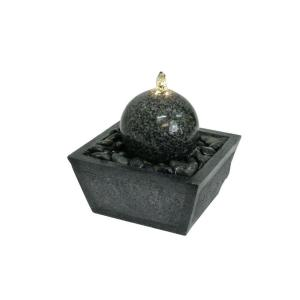 Algreen Illuminated Granite Ball Fountain with Natural Stones by Algreen