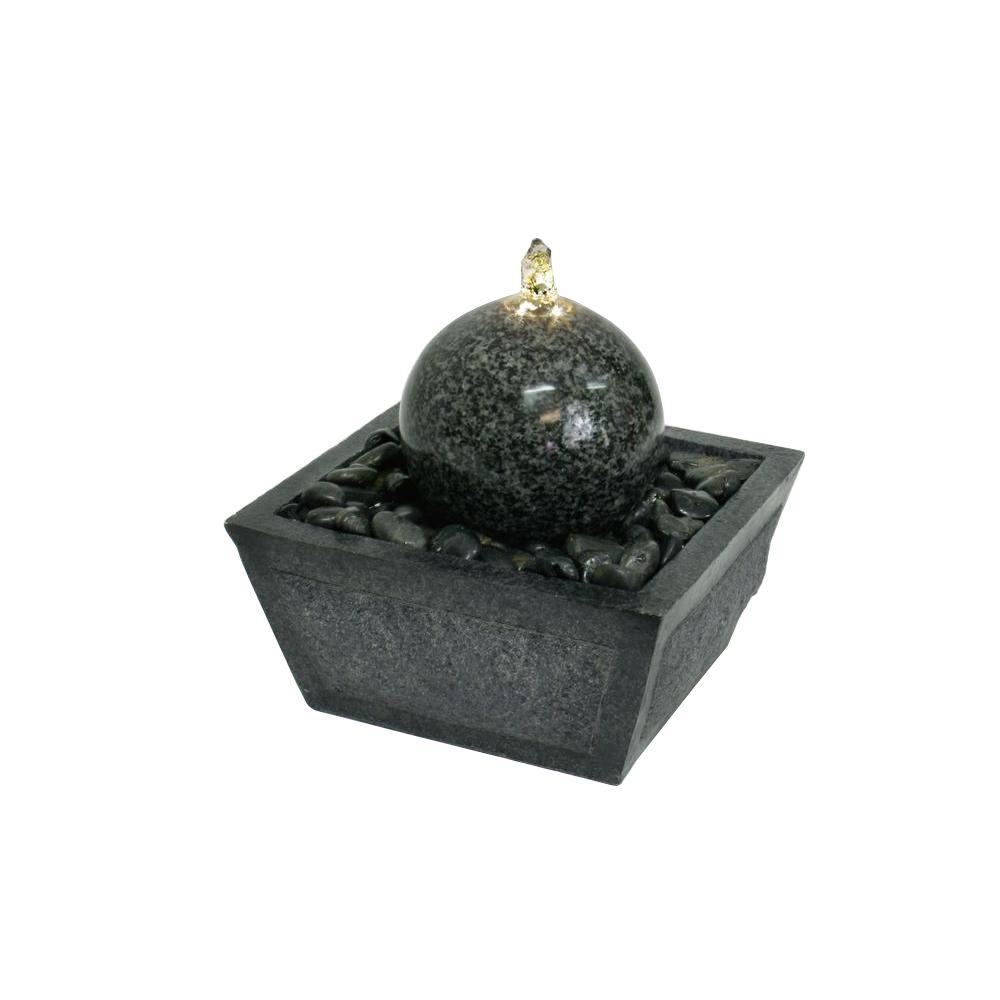Illuminated Granite Ball Fountain with Natural Stones