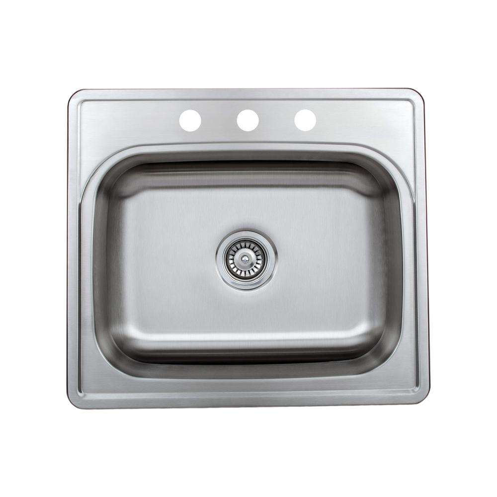 Wells Halsted Top Mount Stainless Steel 25 In 3 Hole Single Bowl Kitchen Sink