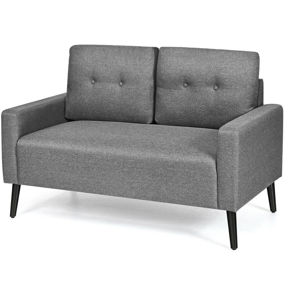 Costway Modern 2 Seat Grey Upholstery Loveseat Sofa Hw64220gr The Home Depot