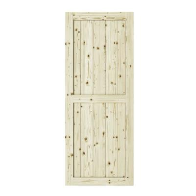 33 in. x 84 in. Ranch 2 Panel Unfinished Knotty Pine Interior Barn Door Slab