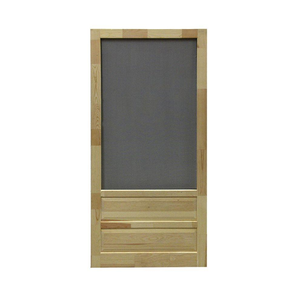 36 in. x 80 in. Hampton Wood Unfinished Screen Door