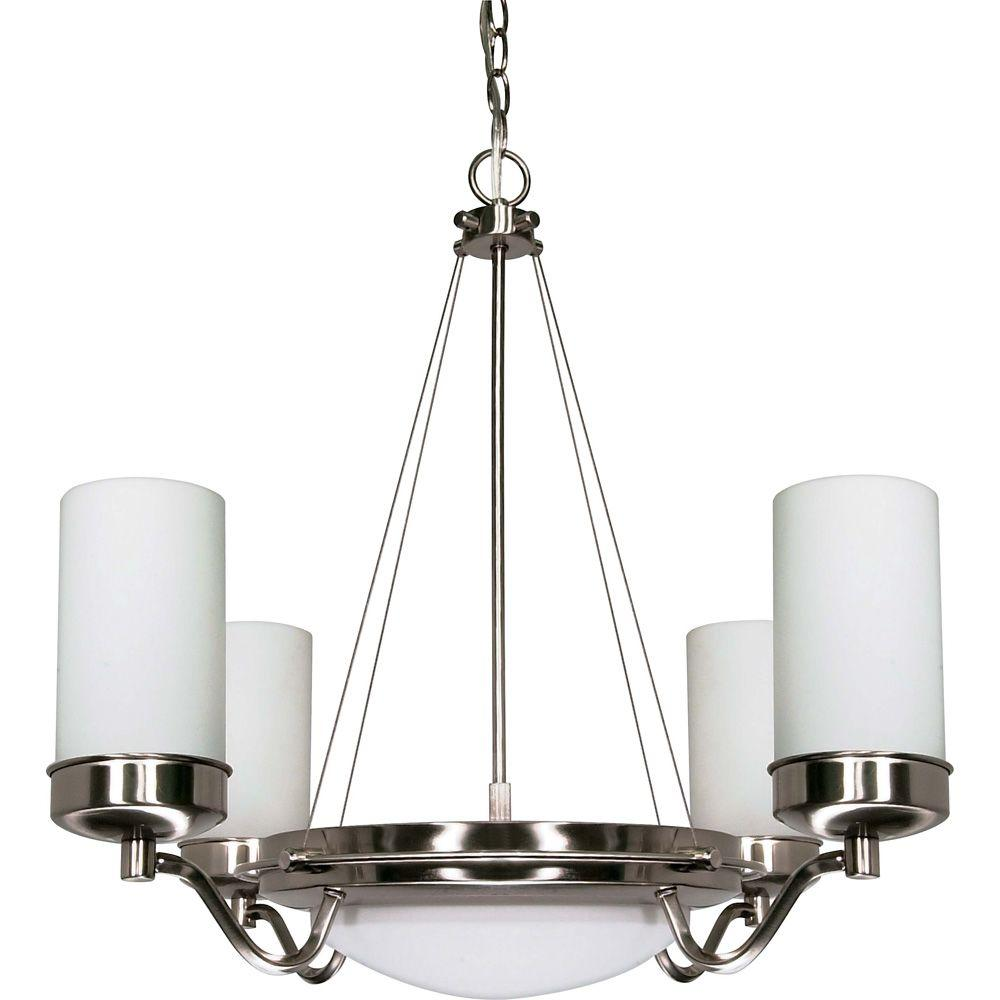 Glomar 6 Light Brushed Nickel Chandelier With Satin