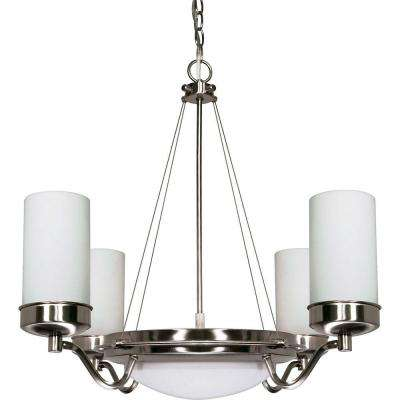 6-Light Brushed Nickel Chandelier with Satin Frosted Glass Shades