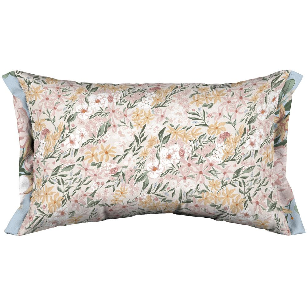 Arden Selections Artisans 12 in. x 20 in. Opus Floral Lumbar Throw Pillow with Side Flange