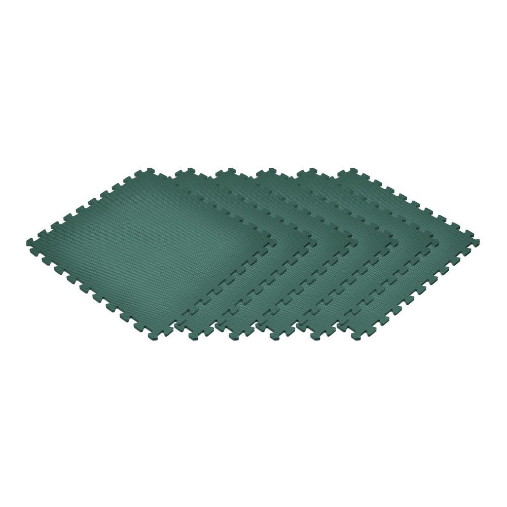 Dark Green 24 in. x 24 in. x 0.47 in. Foam Interlocking Floor Mat (6-Pack)
