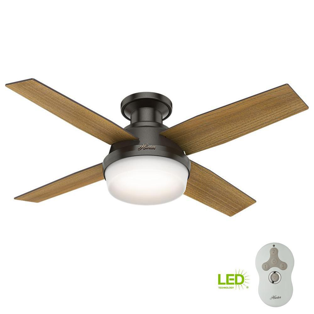 Hunter Summerlin 48 Noble Bronze Ceiling Fan With Light: Hunter Dempsey 44 In. Low Profile LED Indoor Noble Bronze