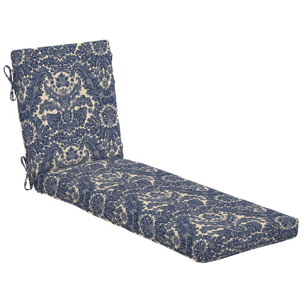 hamptonbay Hampton Bay Chelsea Damask Outdoor Chaise Lounge Cushion