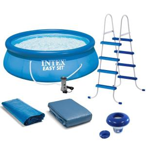 Easy Set 15 ft. Round 48 in. Deep Above Ground Pool Inflatable Pool with Ladder, Pump and Hydrotools Chlorine Dispenser