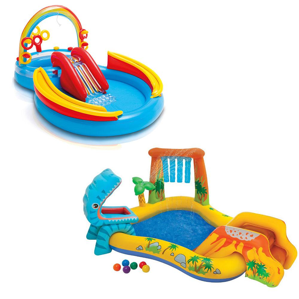 Intex 76 in. x 6.375 in. Deep Dinosaur Play Center Kiddie Pool and Inflatable Rainbow Ring Water Play