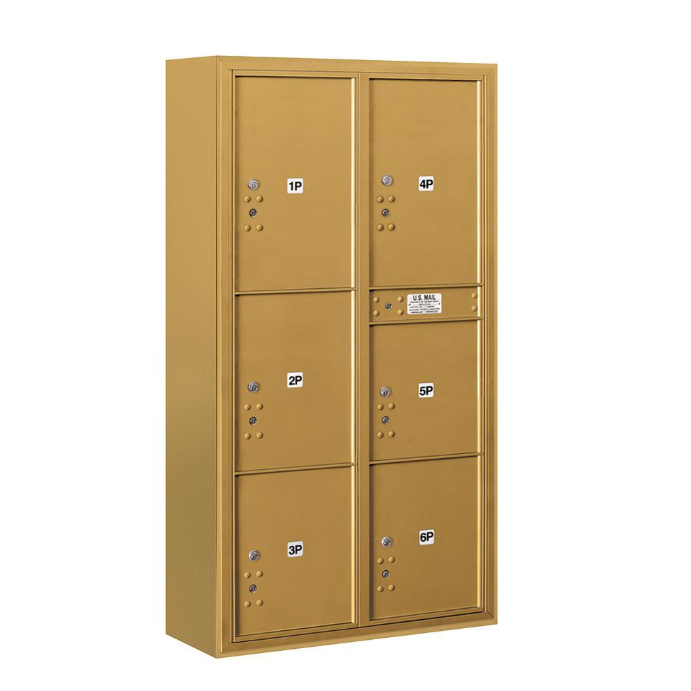 3800 Horizontal Series 6-Parcel Locker Surface Mount Mailbox