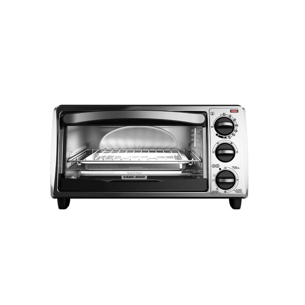 4-Slice Bezel Toaster Oven in Black Large enough for a 9 in. pizza or 4 slices of bread, this BLACK+DECKER toaster oven (model TO1313SBD) complements any countertop perfectly. This versatile toaster oven toasts, cooks, broils and reheats at up to 450° using exclusive EvenToast Technology, which optimizes interior heat distribution to toast bread up to 30% more evenly than leading competitors. Even better, cleanup is a cinch with its removable crumb tray. Color: Black.
