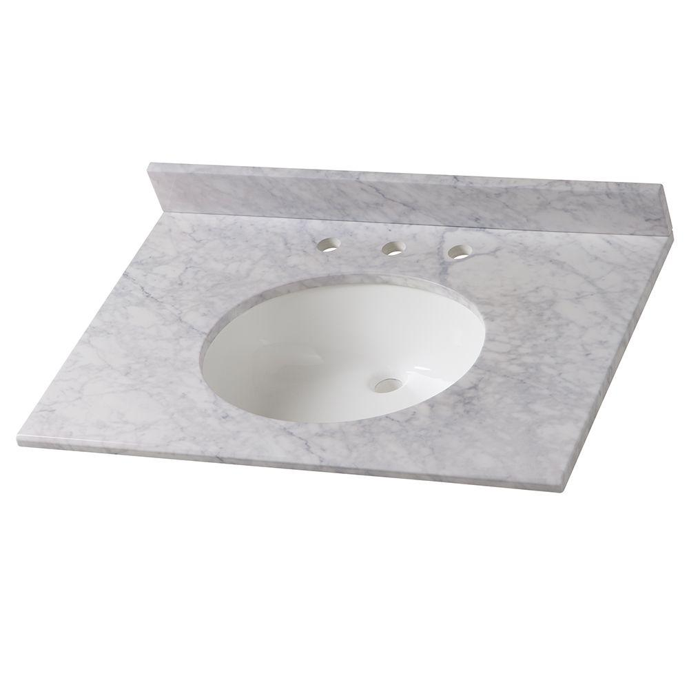 Home Decorators Collection 31 in. W Stone Effects Vanity Top in Carrera