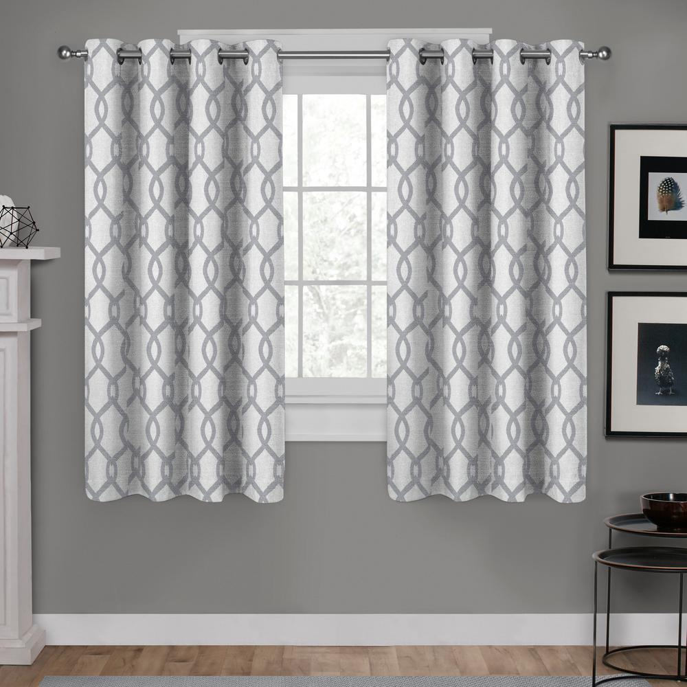 Kochi 54 in. W x 63 in. L Linen Blend Grommet Top Curtain Panel in Dove Gray (2 Panels)