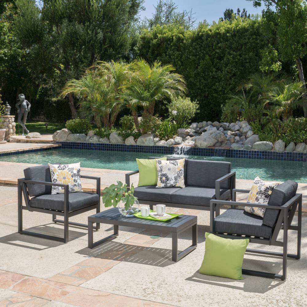 Navan dark gray 4 piece aluminum patio conversation set with dark grey cushions