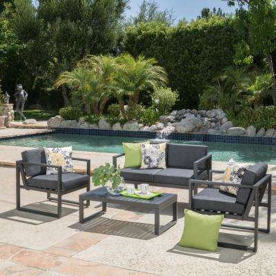 Navan Dark Gray 4 Piece Aluminum Patio Conversation Set With Dark Grey  Cushions