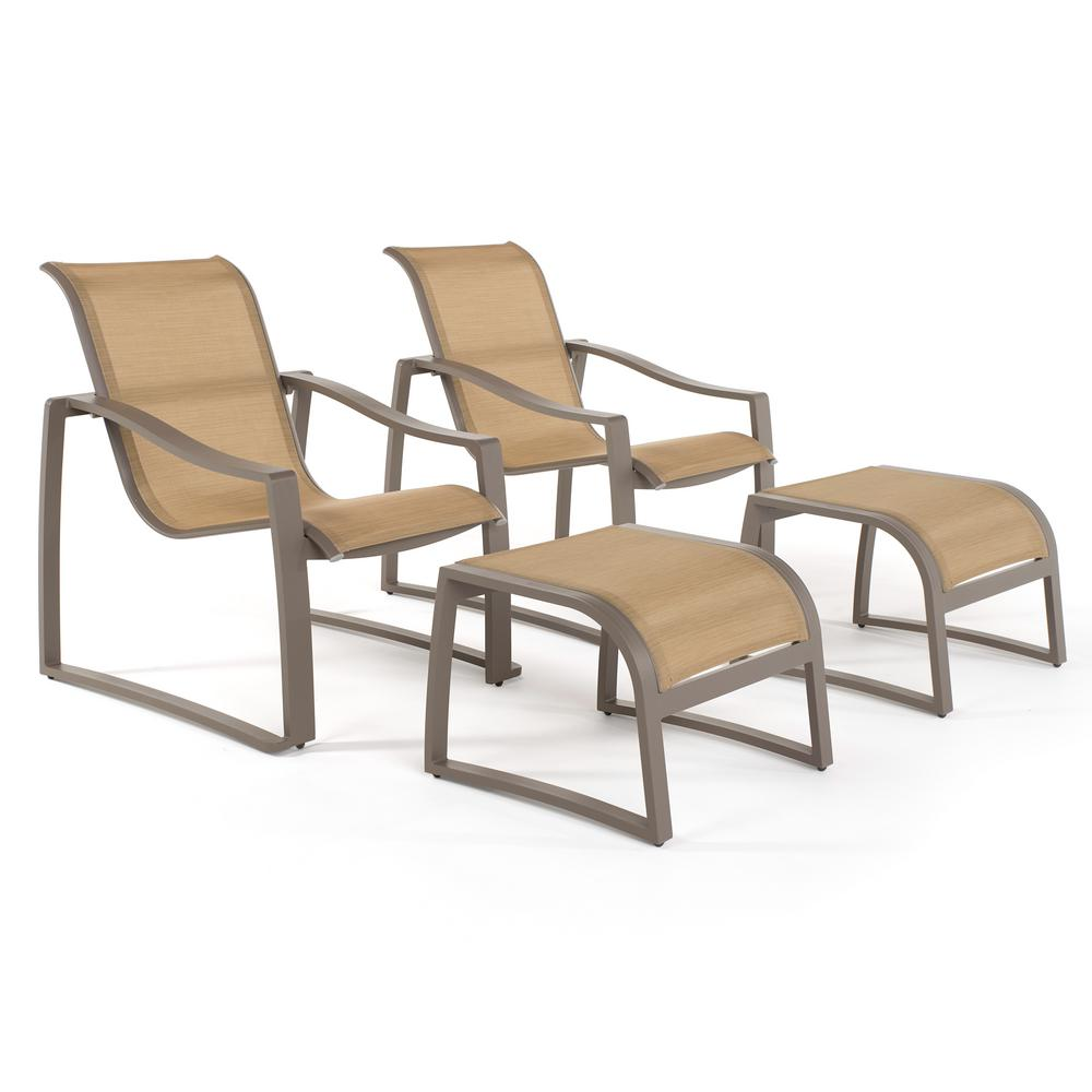 Zen Taupe 4 Piece Stationary Sling Outdoor Lounge Chair Set