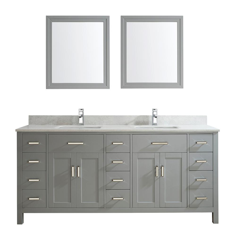 Studio Bathe Kalize II 75 in. W x 22 in. D Vanity in Oxford Gray with Thin Engineered Vanity Top in White with White Basin and Mirror