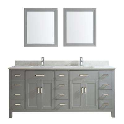 Kalize II 75 in. W x 22 in. D Vanity in Oxford Gray with Thin Engineered Vanity Top in White with White Basin and Mirror