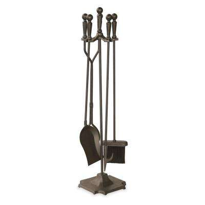 Bronze 5-Piece Fireplace Tool Set with Ball Handles and Pedestal Base