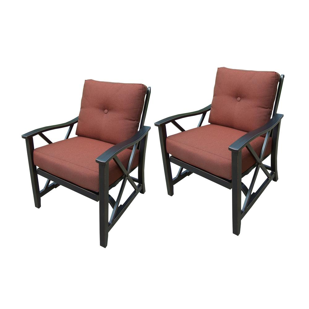 Aluminum Outdoor Lounge Chair with Red Cushion (2-Pack)