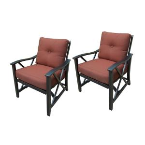 Aluminum Outdoor Lounge Chair with Red Cushion (2-Pack) by