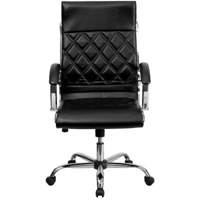 High Back Designer Black Leather Executive Swivel Office Chair with Chrome Base