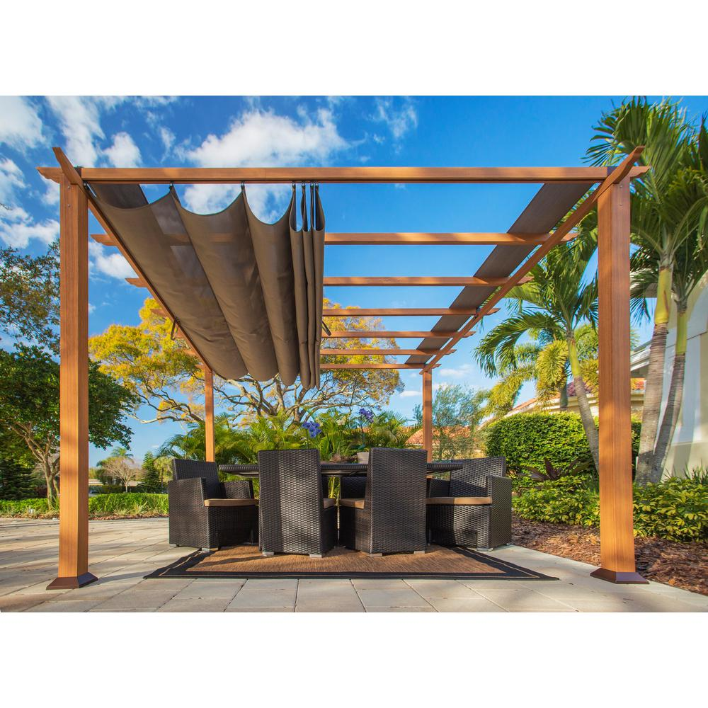 c08f9965d4b3 Paragon Outdoor. Paragon 11 ft. x 11 ft. Aluminum Pergola with the Look of  Canadian Cedar Wood and Sand Color Convertible Canopy