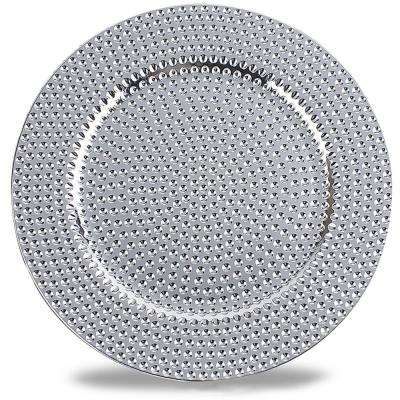 Hammer Pattern Silver Round Plastic Charger Electroplating Plate (Set of 6)