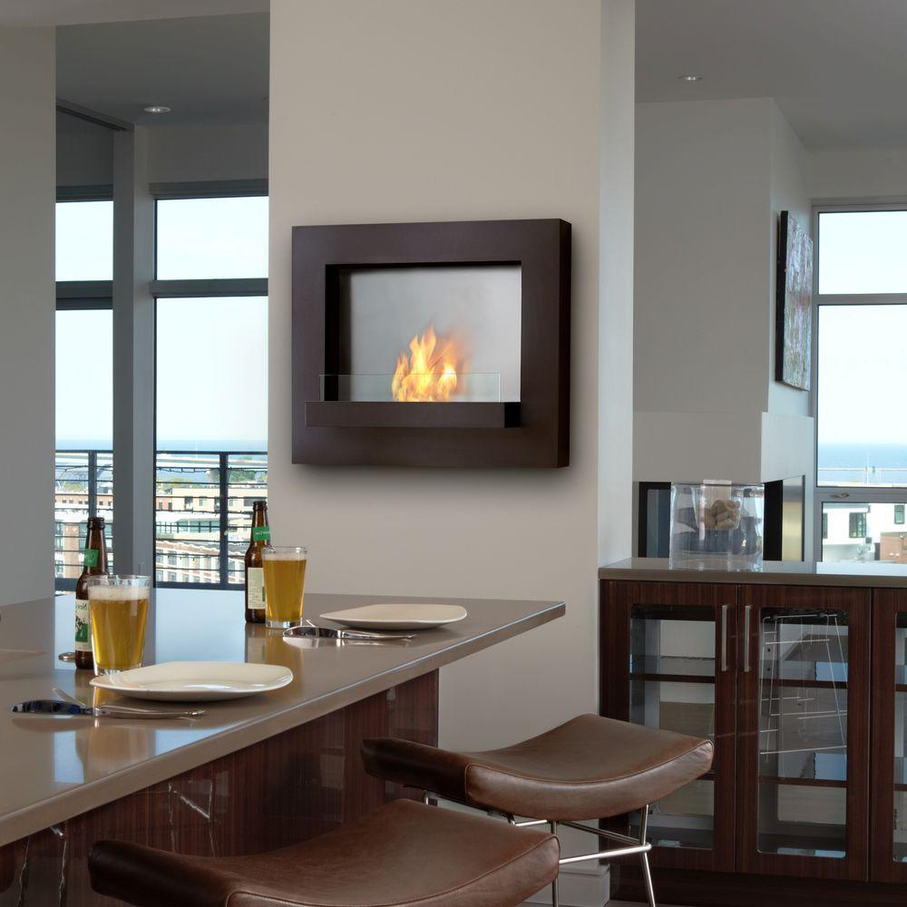Real Flame Edgerton 36 in. Wall-Mount Gel Fuel Fireplace in Rust Brown-DISCONTINUED