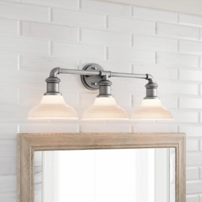 Foxcroft  3-Light Antique Nickel Vanity Light with Clear Prismatic Glass Shades