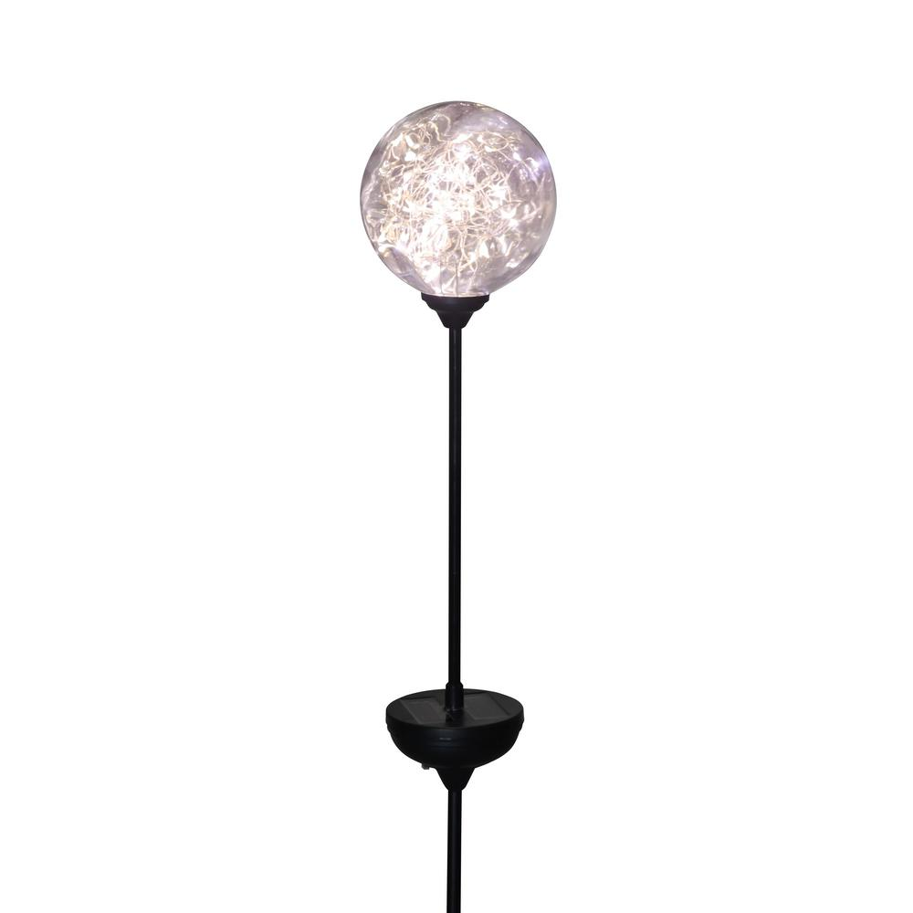 18 in. Solar Integrated LED Clear Glass Globe Pathway Stake Light
