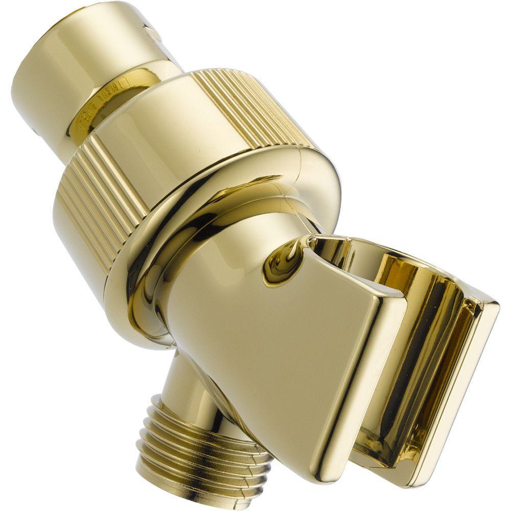 Delta Adjustable Shower Arm Mount For Hand Shower In Polished  Brass U3401 PB PK   The Home Depot
