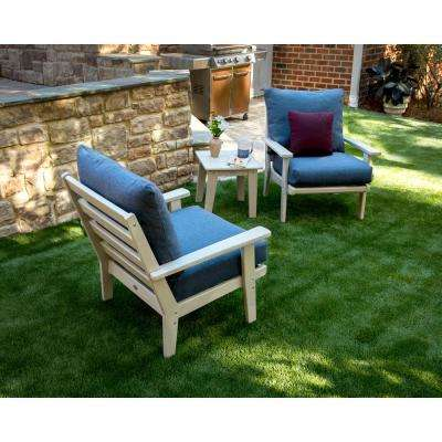 Grant Park Sand 3-Piece Plastic Patio Deep Seating Set with Stone Blue Cushions