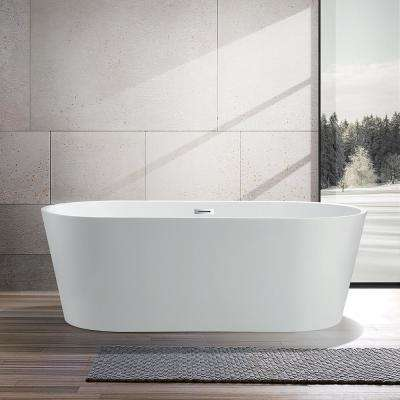 Bordeaux 67 in. Acrylic Flatbottom Freestanding Bathtub in White