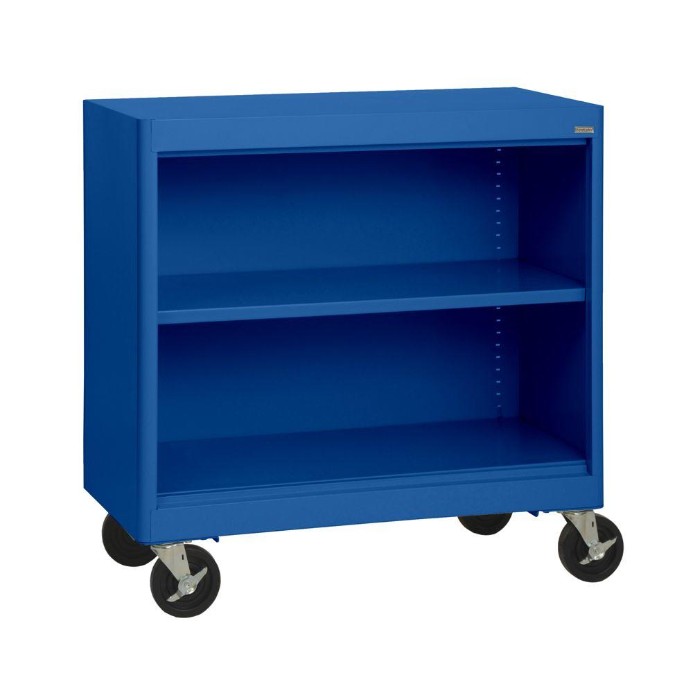 Sandusky Radius Edge Blue Mobile Steel Bookcase