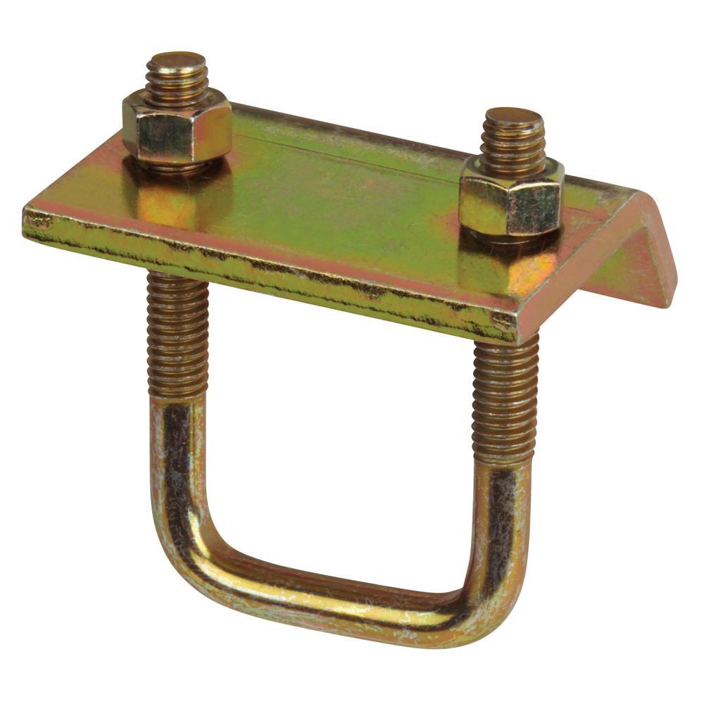 Superstrut in u bolt beam clamp galvanized gold