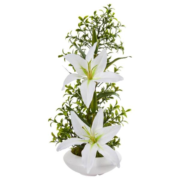 Nearly Natural Indoor Lily and Boxwood Artificial Arrangement in White Planter