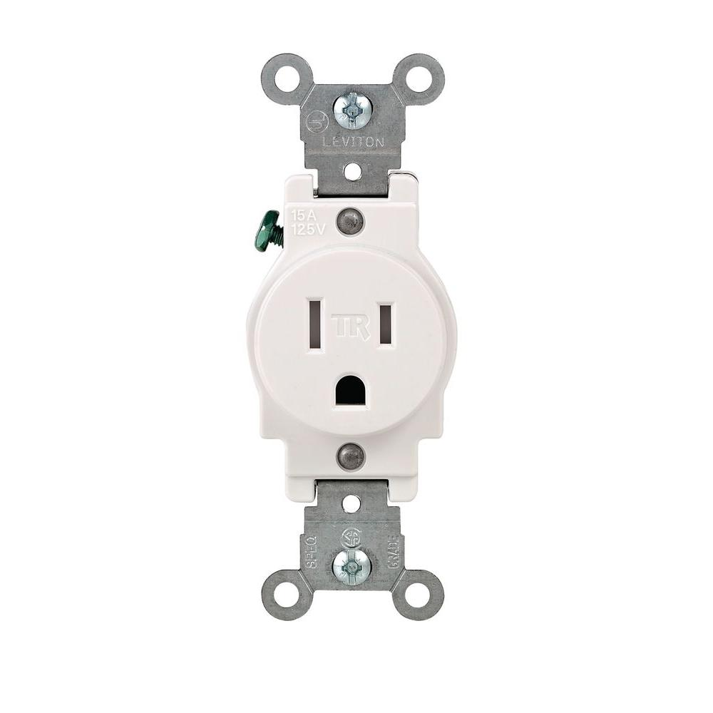 Duplex Electrical Outlets Receptacles Wiring Devices Light A Double Switch With 2 Lights 15 Amp Commercial Grade Tamper Resistant Single Outlet White