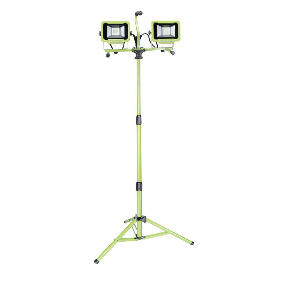 5000-Lumen 2-Head LED Work Light with Green Metal Adjustable Tripod