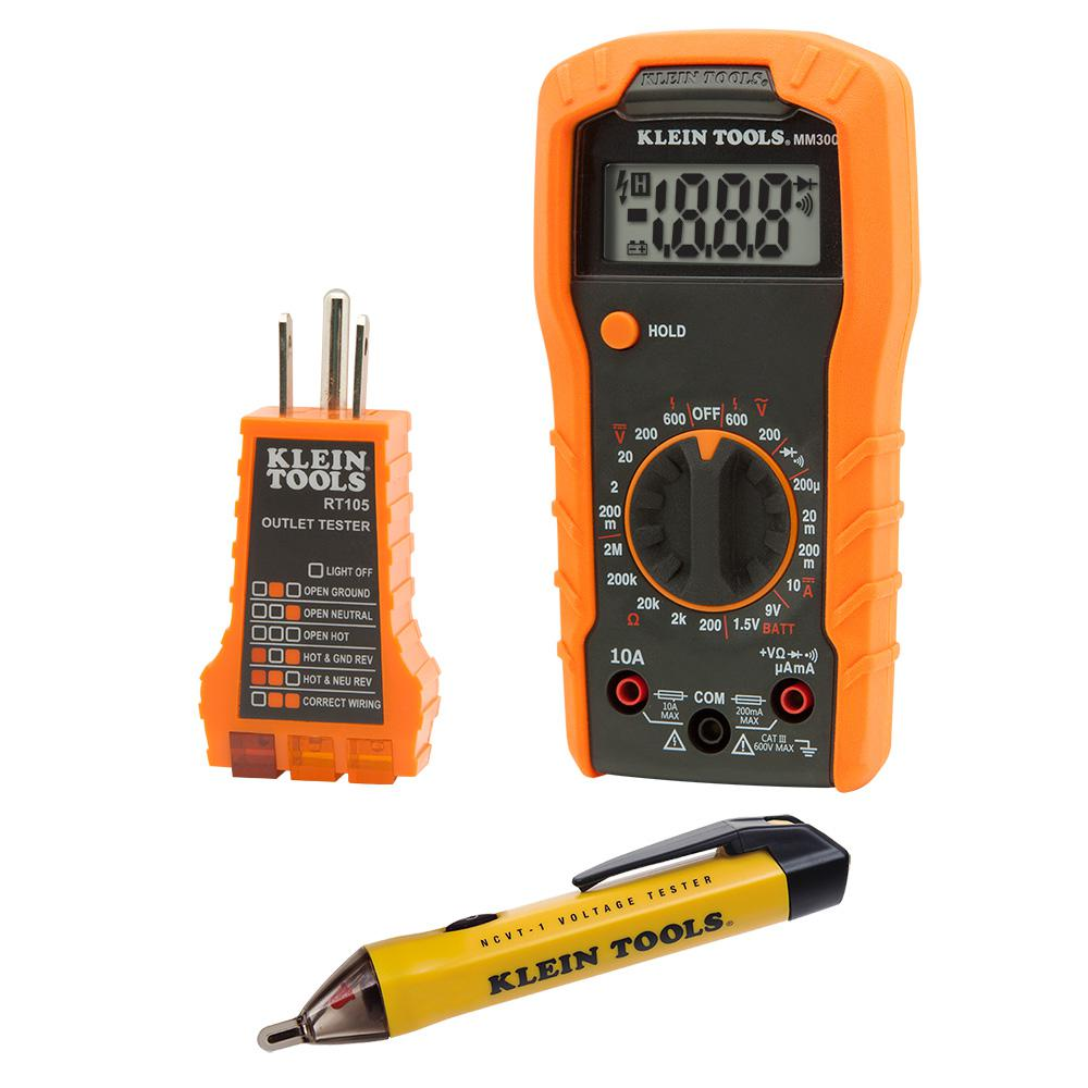 Klein Tools Voltage Tester : Klein tools electrical test kit the home depot