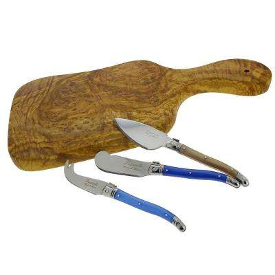 14 in. Olive Wood Cutting Board with 3-Assorted Laguiole Cheese Knives