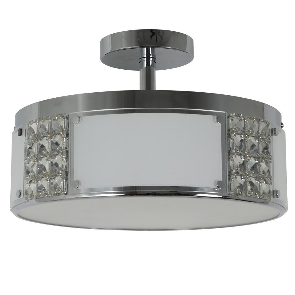 Iris 15 in. 2-Light Chrome Metal and Glass Flush Mount Ceiling Light